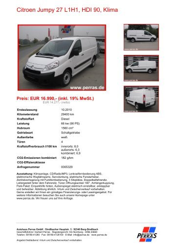 Preis: EUR 16.990,- (inkl. 19% MwSt.) - Autohaus Perras