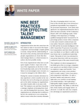 Nine Best Practices for Effective Talent Management