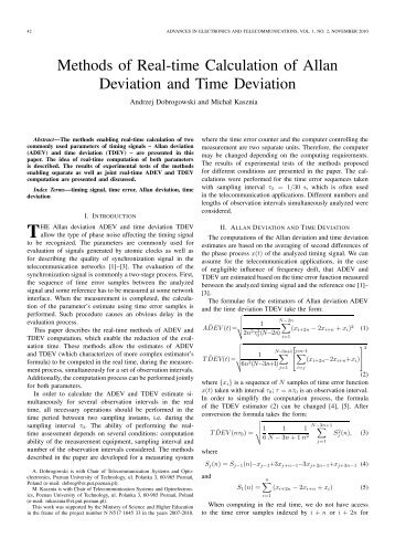 Methods of Real-time Calculation of Allan Deviation and Time ...