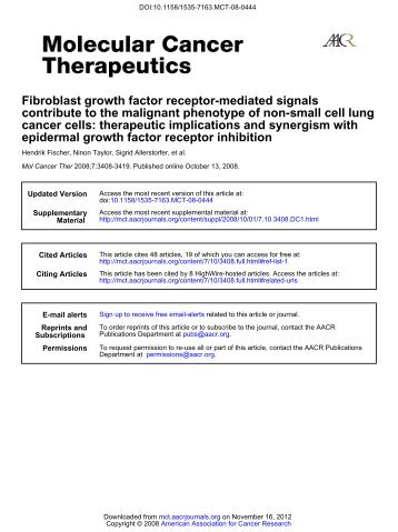 Fibroblast growth factor receptor-mediated signals contribute to the ...
