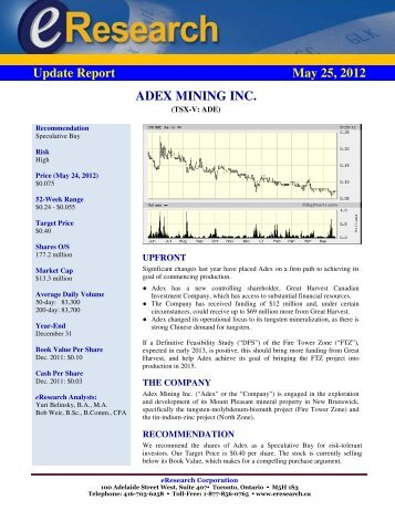 Update Report May 25, 2012 ADEX MINING INC.