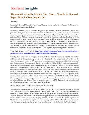 Rheumatoid Arthritis Market Size, Share, Growth & Research Report 2020 Radiant Insights, Inc