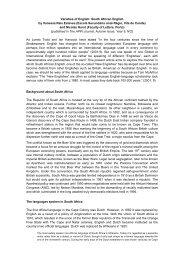Varieties of English: South African English by Vanessa Reis Esteves ...