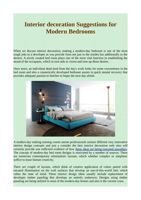 Interior Decoration Suggestions For Modern Bedrooms