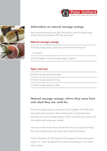 Information on natural sausage casings. Natural ... - Peter Gelhard