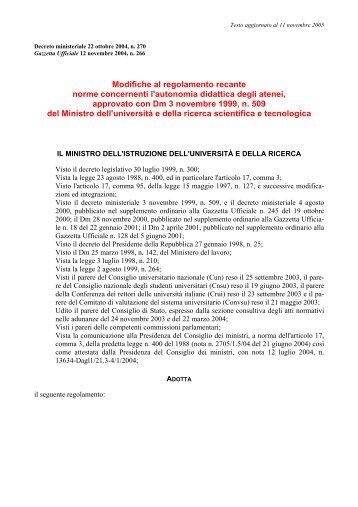 Decreto ministeriale 22 ottobre 2004, n. 270