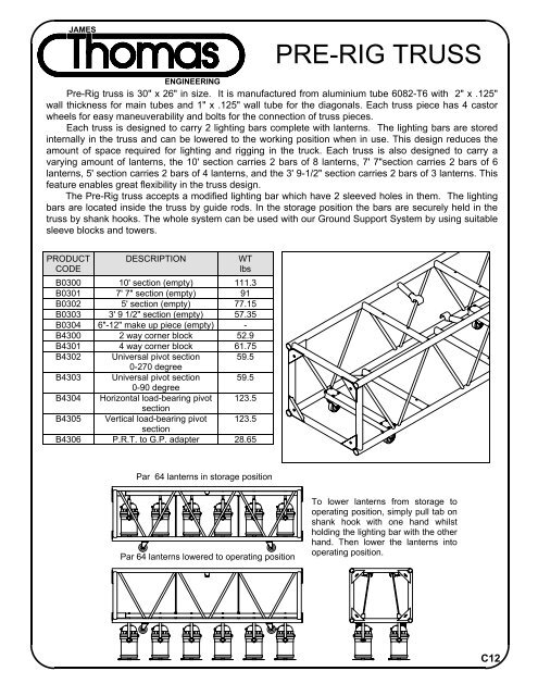 Pre-Rig truss - James Thomas Engineering