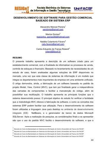 DESENVOLVIMENTO DE SOFTWARE PARA GESTÃO COMERCIAL BASEADO EM SISTEMA ERP