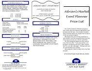 Adrian's Market Event Planner Price List