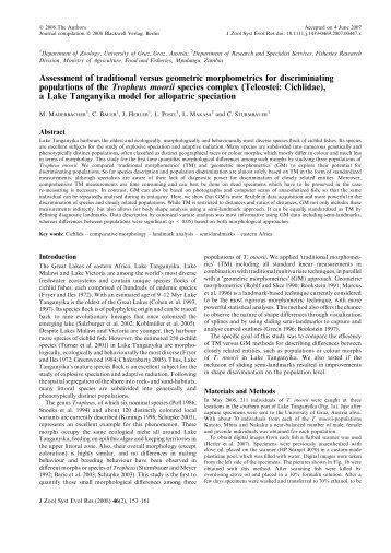 Assessment of traditional versus geometric morphometrics for ...