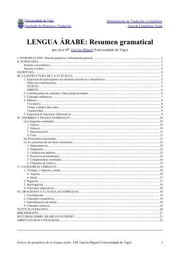 Esbozo de Gramática de la LENGUA ÁRABE - Universidade de Vigo