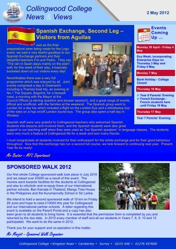 Weekly Newsletter 2 May 2012 - Collingwood College