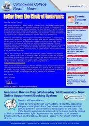 Weekly Newsletter 7 November 2012 - Collingwood College