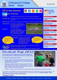 Weekly Newsletter 18 July 2012 - Collingwood College