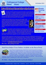 Weekly Newsletter 24 October 2012 - Collingwood College