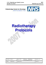 Clatterbridge Centre for Oncology Radiotherapy Protocols