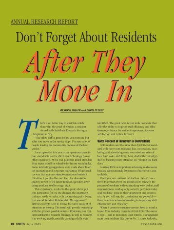 Resident Retention – 60% of Turnover is Controllable - Gracehill.com