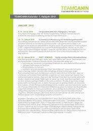 TEAMCANIN Veranstaltungskalender Halbjahr 1 2010