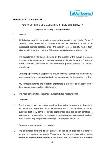 General Terms and Conditions of Sale and Delivery - Peter Wolters AG