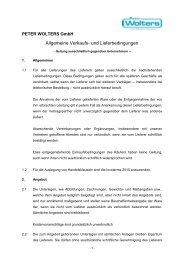 Allgemeine Verkaufs- und Lieferbedingungen ... - Peter Wolters AG