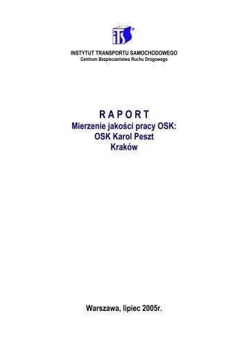 Raport z badania jakości pracy. - Instytut Transportu Samochodowego