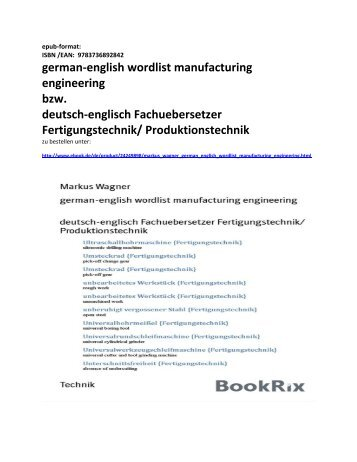 wordlist manufacturing engineering german-english (epub-format) -deutsch-englisch Fachuebersetzer Fertigungstechnik/ Produktionstechnik