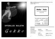 OFFIZIELLES BULLETIN Hofer Velo - Gekkos Gerlafingen