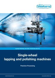 Single-wheel lapping and polishing machines - Peter Wolters AG