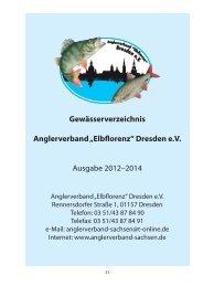 "Gewässerverzeichnis Anglerverband ""Elbflorenz"" Dresden e.V. ..."