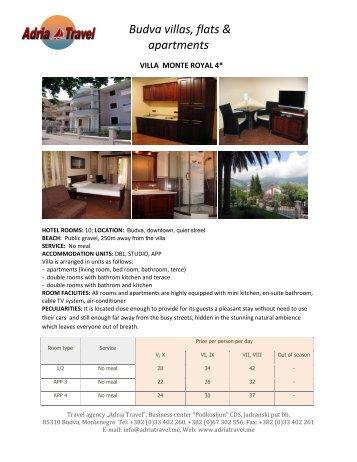 Budva villas, flats & apartments - Adria Travel