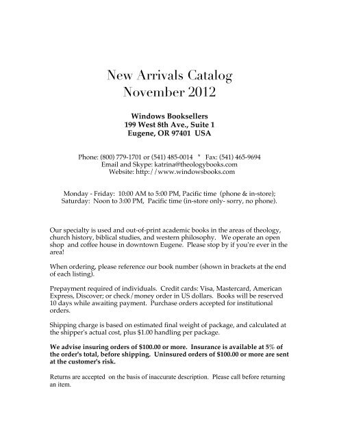 New Arrivals Catalog Nov 2012 Windows Booksellers
