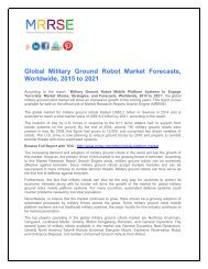 Global Military Ground Robot Market Forecasts, Worldwide, 2015 to 2021
