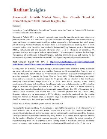 Rheumatoid Arthritis Market Share, Size, Growth, Trend & Research Report 2020 Radiant Insights, Inc