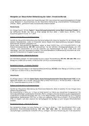 Beispiele zur Steuerlichen Behandlung der österr. Investmentfonds
