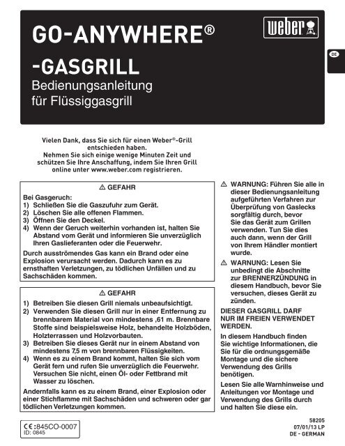 Go anywhere weber gasgrill bedienungsanleitung for Weber gasgrill go anywhere