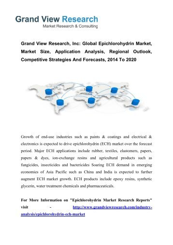 Epichlorohydrin (ECH) Market Trends 2014 To 2020 by Grand View Research, Inc.