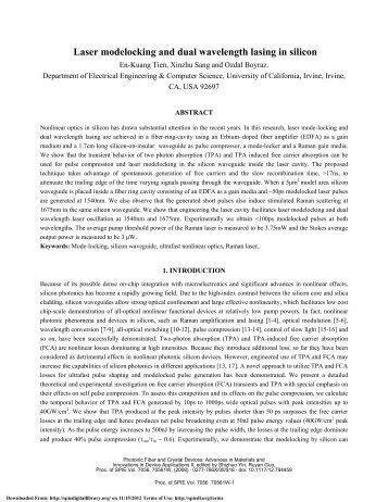 Laser modelocking and dual wavelength lasing in silicon.pdf - Apdsl