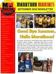 SEPTEMBER 2010 NEWSLETTER - Marathon Maniacs