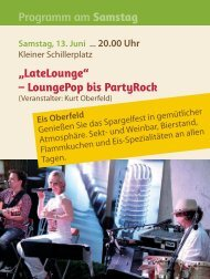 "Programm am Samstag ""LateLounge"" – LoungePop bis PartyRock"