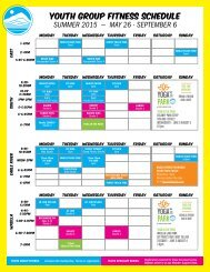 YOUTH GROUP FITNESS SCHEDULE SUMMER 2015 — MAY 26 - SEPTEMBER 6