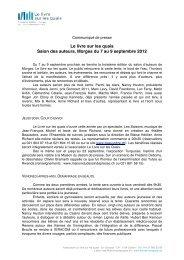 Communiqué de presse du 27 août 2012 - Le Livre sur les quais