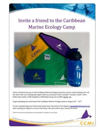 Invite a friend to the Caribbean Marine Ecology Camp