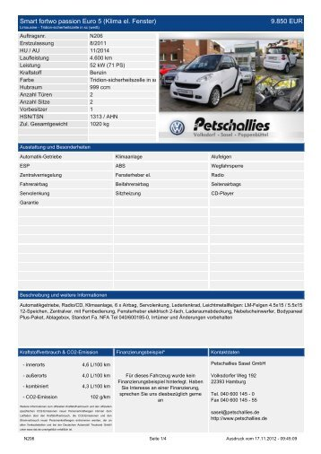 Smart fortwo passion Euro 5 (Klima el. Fenster) 9.850 ... - Petschallies