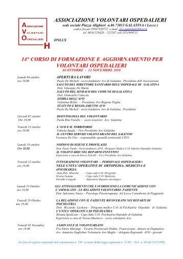 Programma corso Avo - Centro Servizi Volontariato Salento