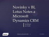Novinky BI, LN a CRM - ORTEX