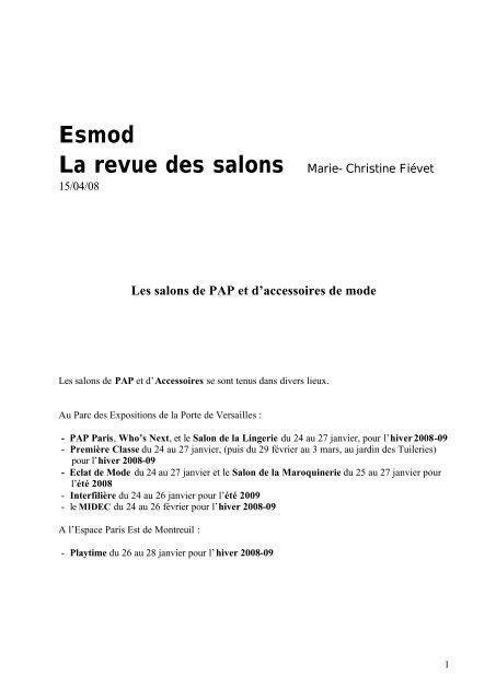 Esmod International De Salons Et D'accessoires Pap Les Mode Y6gyf7bIv