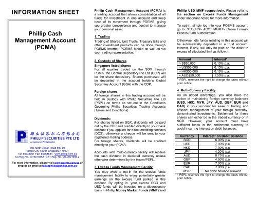 INFORMATION SHEET Phillip Cash Management Account     - Poems