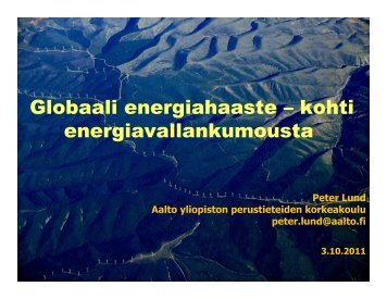 Kohti energiavallankumousta 03102011 Peter Lund