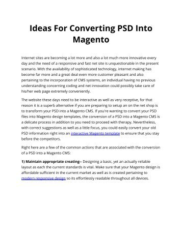 Ideas For Converting PSD Into Magento