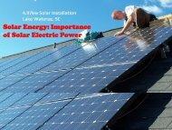 Solar Energy: Importance of Solar Electric Power